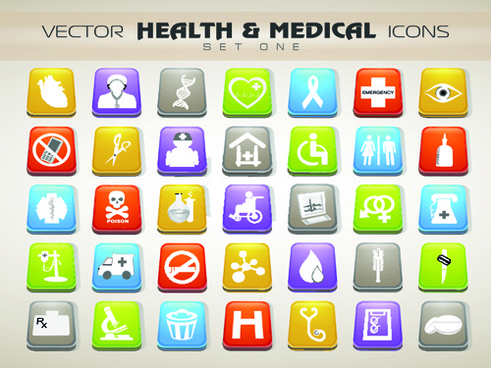 set of different medical icons vector