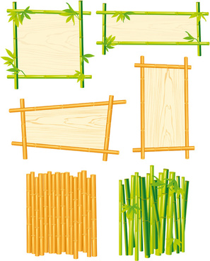 set of different of bamboo frame design vector