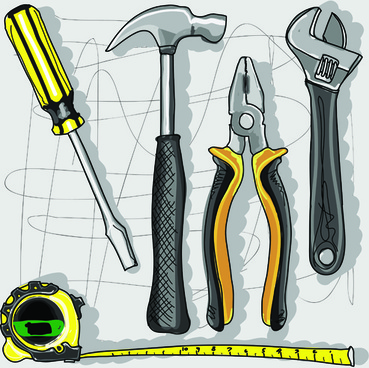 set of different repair tools vector graphics