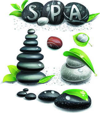 set of different spa design elements vector art