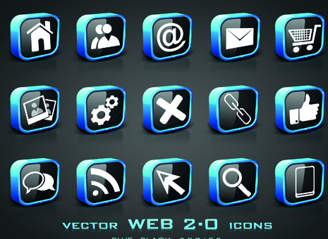 set of different web icons vector