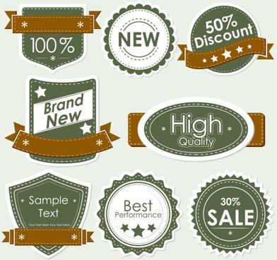 set of discount label design elements vector