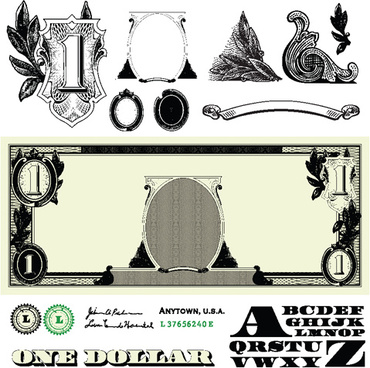 set of dollar design elements vecot