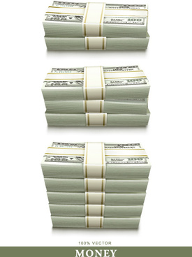 set of dollars in bundles design vector