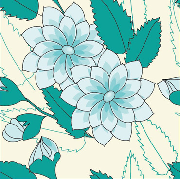 set of drawing seamless flower pattern vector