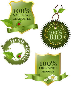 set of eco and bio elements vector labels