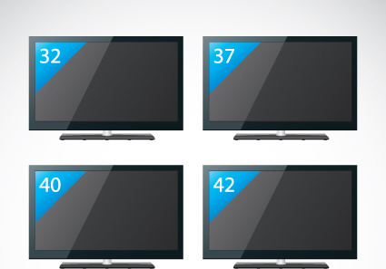 set of electronics lcd tv elements vector
