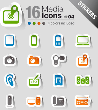 set of eps icon stickers elements