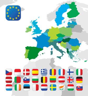 set of european union flag and symbol design vector graphics