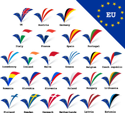 set of european union flag and symbol design vector graphics