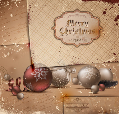 set of exquisite christmas background art vector
