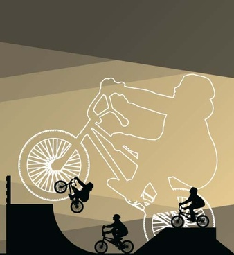 set of extreme bikers vector silhouettes