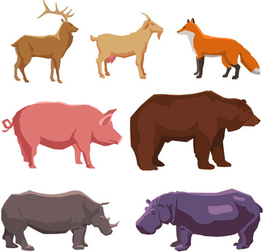 set of farm animals vector sketches on a white background
