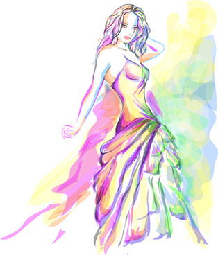 set of fashion beautiful girls vector