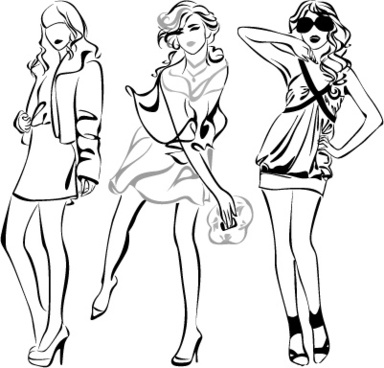 set of fashion girl pencil sketch vector