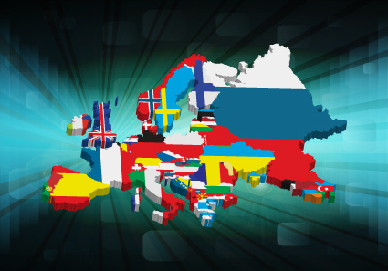 set of flags and continents elements vector