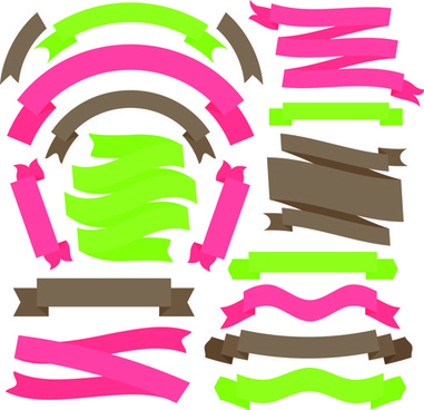 set of flat colored ribbons vector