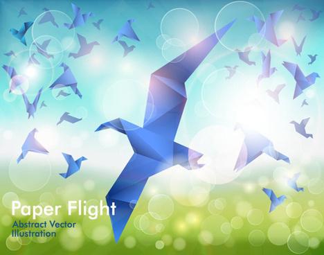 set of flight origami birds vector illustration