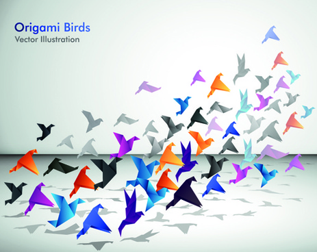 set of flight origami birds vector illustration
