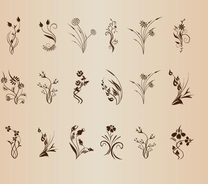 set of floral design element vector