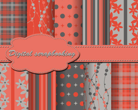 set of floral fabric background vector