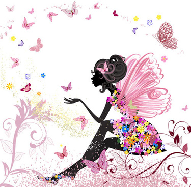 set of floral girls elements vector
