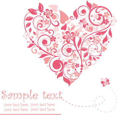 set of floral heart elements vector