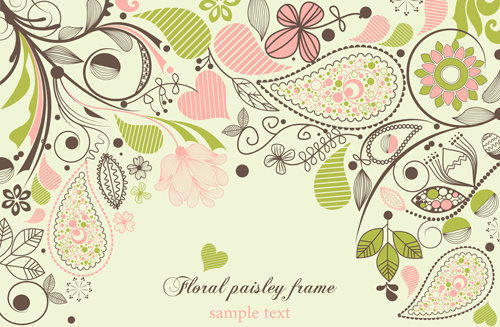 set of floral paisley elements frame vector