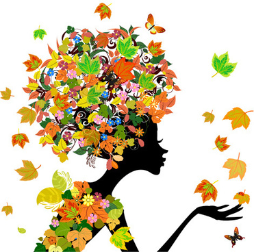set of floral season girls vector graphic