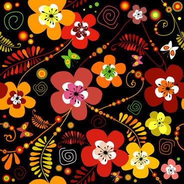 set of flower pattern vector art