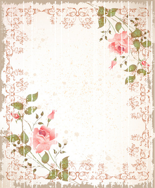 set of flowers and backgrounds design elements vector