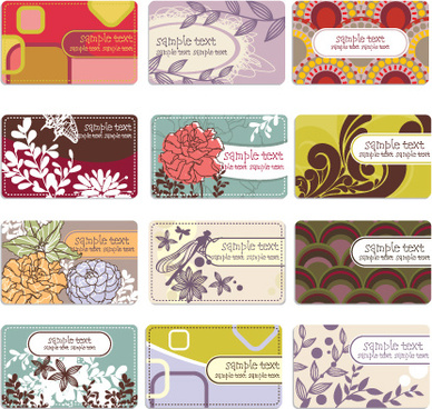 set of flowers and nature business card vector