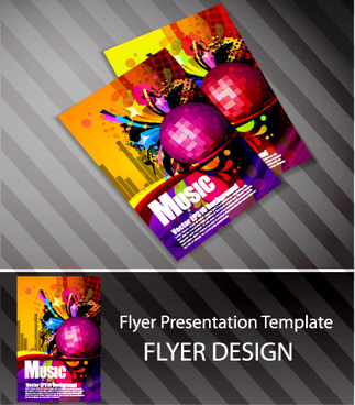 set of flyer presentation template design vector