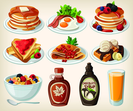 set of food icons vectors