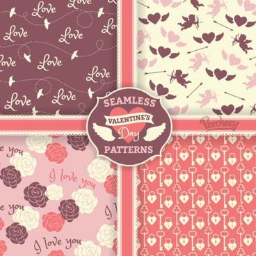 set of four romantic patterns