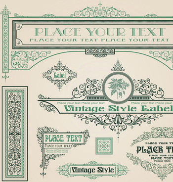 set of frame border ornament element in vintage style vector