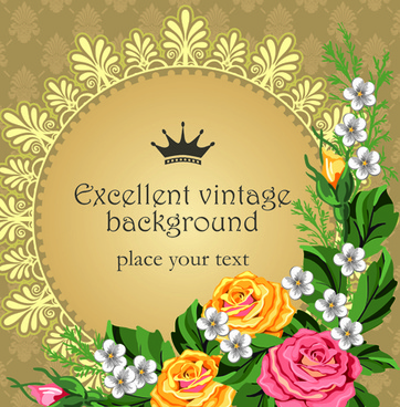 set of frame with flowers luxurious vector background