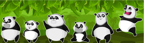 set of funny animals vector panda