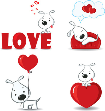 set of funny valentine card vector graphics