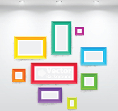 set of gallery lighting vector graphic