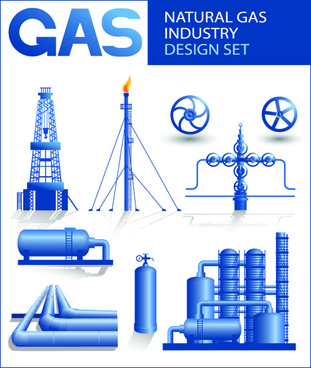 set of gas and oil design elements vector