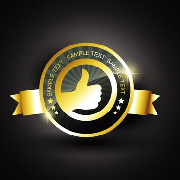 set of gold color badges8 labels vector