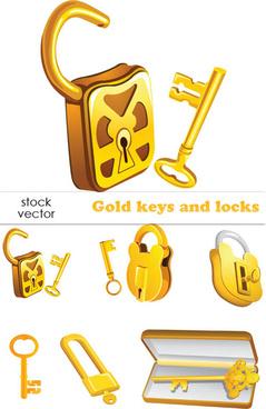 set of gold color keys8 locks vector