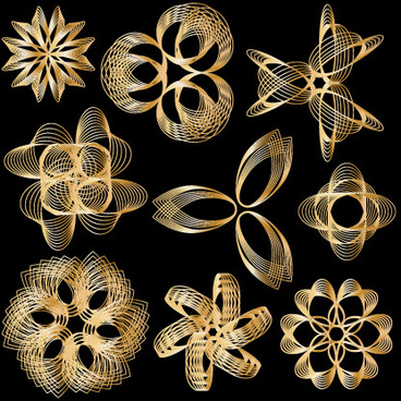 set of golden border and ornament design vector