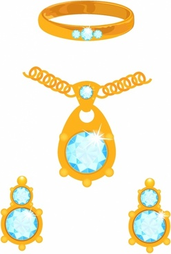 Set of golden jewelry with diamonds