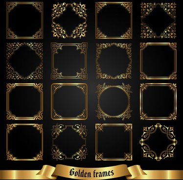 set of golden labels vector graphics
