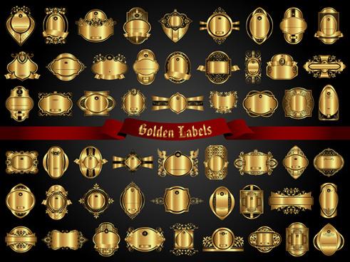 set of golden labels vector graphics