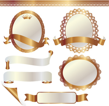 set of golden lacework frames vector