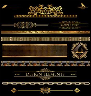 set of golden ornament borders design vector