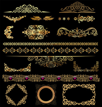 set of golden ornament borders design vector